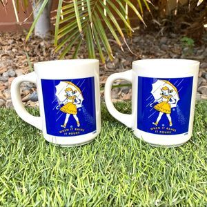 Vintage 1956 Morton Salt Coffee Tea Mugs Set of 2